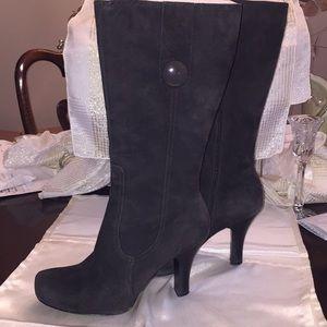 Dark grey suede high heeled boots